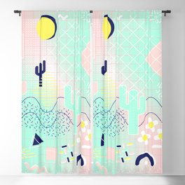 Summer cactus geometric Memphis inspired pattern Blackout Curtain