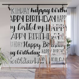 Happy Birthday | Black and White Pattern Wall Mural