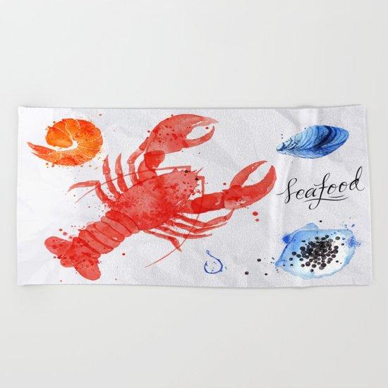 Lobster Menu Beach Towel