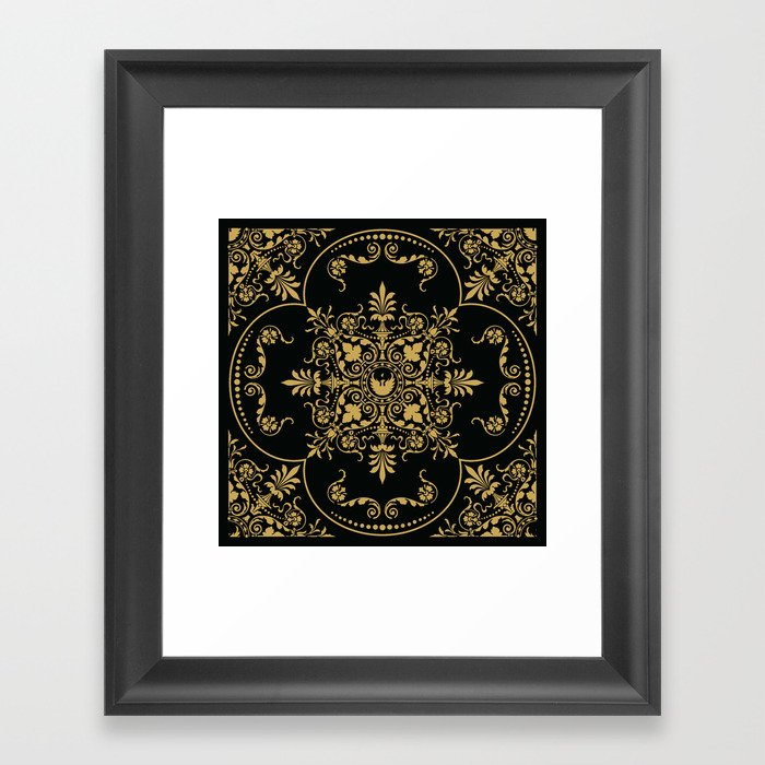 42c61e047ecd Decorative Pattern in Black and Gold Framed Art Print by ...