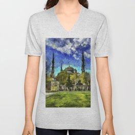 Blue Mosque Istanbul Art Unisex V-Neck