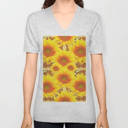 Yellow Caramel Sunflowers on Floral Patterns Unisex V-Neck