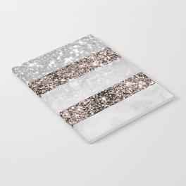 White Marble Rose Gold Glitter Stripe Glam #2 #minimal #decor #art #society6 Notebook