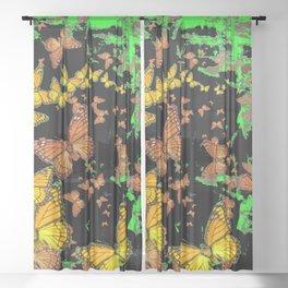 YELLOW MONARCH BUTTERFLIES  GREEN & BLACK ABSTRACT Sheer Curtain