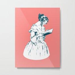 19th century Victorian lady reading book Metal Print