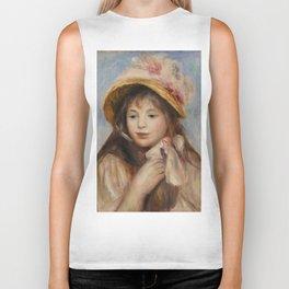 """Auguste Renoir """"Girl with Pink Bonnet (Jeune fille au chapeau rose)"""" Biker Tank"""