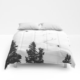 Backcountry Skier // Fresh Powder Snow Mountain Ski Landscape Black and White Photography Vibes Comforters