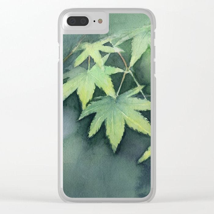 Japanese Maple Watercolor Green Leaves Tree Branch Nature Clear iPhone Case