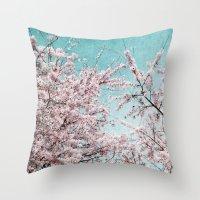 sakura Throw Pillows featuring Sakura by Iris Lehnhardt