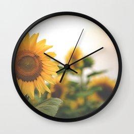 After the Rain - Sunflower Field II Wall Clock