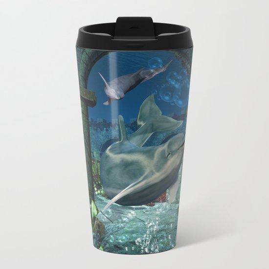 Wonderful dolphin Metal Travel Mug