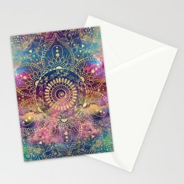 Gold watercolor and nebula mandala Stationery Cards