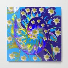 MODERN ART GARDEN BLUE SPIRAL &  DAFFODILS ART Metal Print