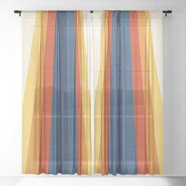 Bright 70's Retro Stripes Sheer Curtain
