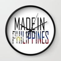 philippines Wall Clocks featuring Made In Philippines by VirgoSpice