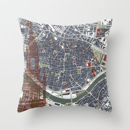 Seville city map engraving Throw Pillow