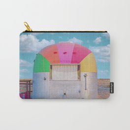 Vintage Camping Trailer with a Rainbow Top in Marfa, Texas Carry-All Pouch