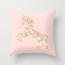 Floral Unicorn in Pink Throw Pillow