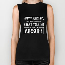 Warning may spontaneously start talking airsoft veteran t-shirts Biker Tank