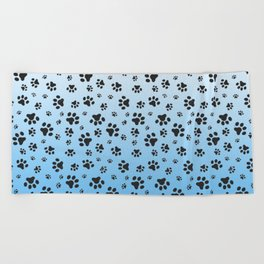 Paw Prints Light Blue White Gradient Beach Towel
