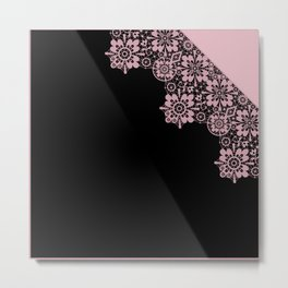 Pink lace on a black background . Metal Print
