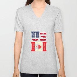 US EH - America Canada Flag Gift Unisex V-Neck