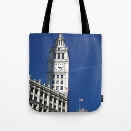 Chicago Clock Tower, American Flags Tote Bag
