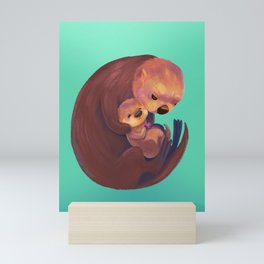 Mom and Baby Sea Otters Mini Art Print