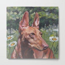Cirneco dell'Etna dog portrait Beautiful Fine Art Dog Painting L.A.Shepard Metal Print