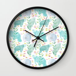Lazy Manatees Wall Clock