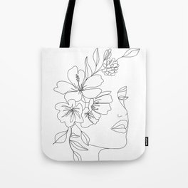 Minimal Line Art Woman Face II Tote Bag