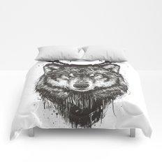 Deer wolf (b&w) Comforters