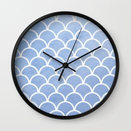 Beautiful textured large scallops in serenity blue Wall Clock