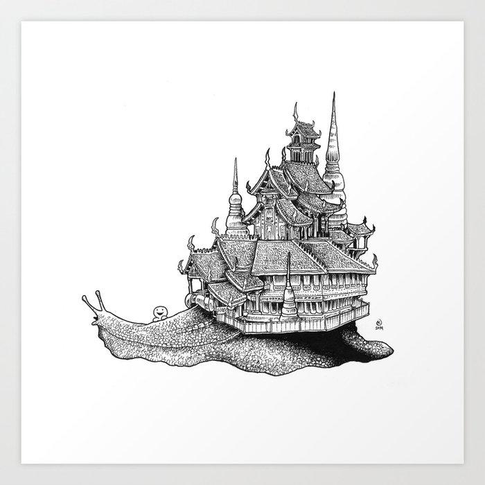 Snail Temple Art Print