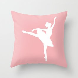 Pink and white Ballerina Throw Pillow