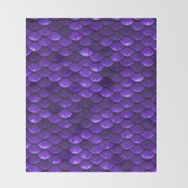 Beautiful grape purple mermaid fish Scales Throw Blanket