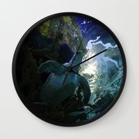 sea turtle Wall Clocks featuring Turtle by Rose&BumbleBee
