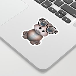 Cute Nerdy Baby Hippo Wearing Glasses Sticker