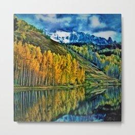Western Rockies Aspen Forest & Lake Landscape by Jeanpaul Ferro Metal Print