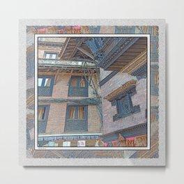 BHAKTAPUR NEPAL BRICKS WINDOWS WIRES Metal Print
