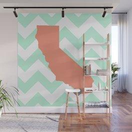 San Diego California in Coral on Mint Chevron Wall Mural