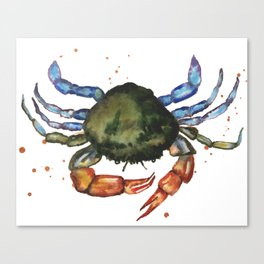 CRAB print, crab art, nautical decor, sea creatures, watercolor animals, animal paintings Canvas Print