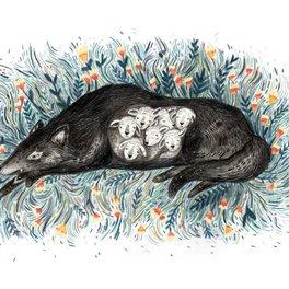 Art Print - Wolf & The Seven Kids - Sandra Dieckmann