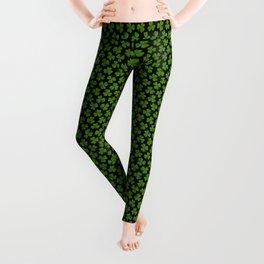Green Irish Shamrocks Pattern Leggings
