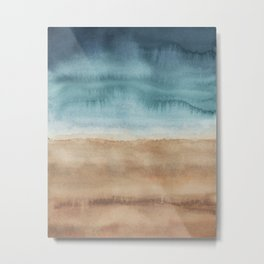 Ocean Shores / Modern Abstract Watercolor Metal Print