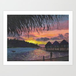 Sunset in the Maldives Art Print