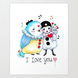 Pierrot I love you! Art Print