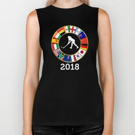 Field Hockey Country Flags 2018 with Female Hockey Player Biker Tank