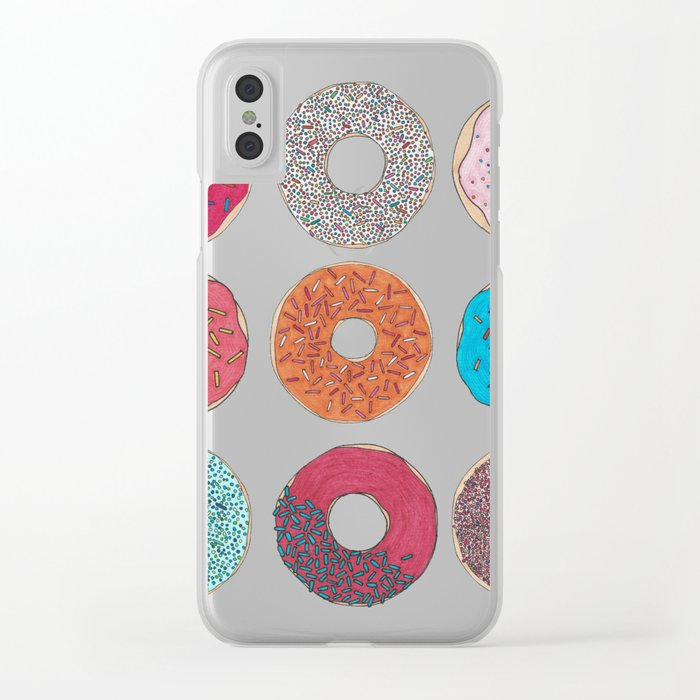 Colourful, illustrated, glazed, sprinkle Donut pattern Clear iPhone Case