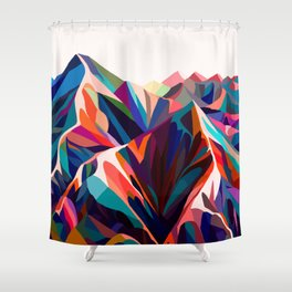 Mountains sunset warm Shower Curtain